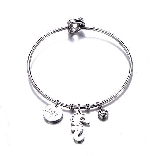 Ouran Edelstahl Armband für Frauen, Charm Anhänger Armreif mit Kristall Herz Verschluss Manschette Handgelenk Armband Beste Schmuck Geschenke für Freunde, Mama (#2 Seepferdchen)