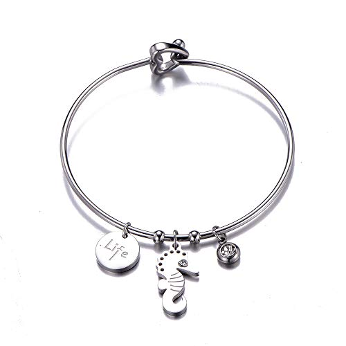 Edelstahl Armband für Frauen, Charm Anhänger Armreif mit Kristall Herz Verschluss Manschette Handgelenk Armband Beste Schmuck Geschenke für Freunde, Mama (#2 Seepferdchen)