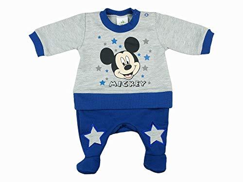 Jungen Mickey Mouse Baby-Strampler WARM ÄRMELLOS, LANG-ARM, mit FUß GRÖSSE 56, 62, 68, 74, 80 Disney Einteiler Outfit Schlafanzug Farbe Modell 3, Größe 68