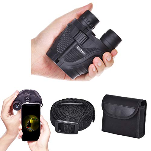 Rolriss Zoom Compact Binoculars, 10-30X25 Low Light Night Vision Binoculars for Adults, Binoculars for Bird Watching, Travel, Outdoor, Hunting and Concerts