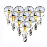 E14 LED Filamento Dimmable Sliver Bombilla, Espejo G45 Top Lámpara de Globo Retro, Bombillas de 4W LED Edison with White 2700K, para el hogar, Interior,Warm White,E26