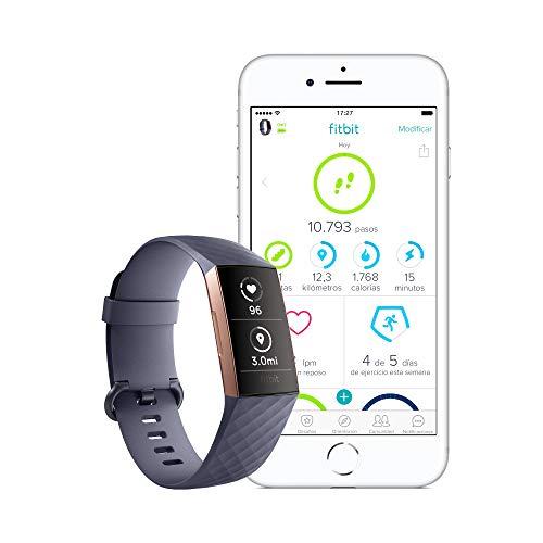 Fitbit Charge 3 Pulsera Avanzada de Salud y Actividad física, Unisex-Adult, Gris Azulado/Aluminio Color Oro Rosa, Talla Unico