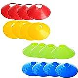 Toyvian Coltello da Calcio Cones 16 PCS Piattino Cono di ostacolo con Vassoio di plastica Vassoio da Allenamento per Calcio, Multicolore