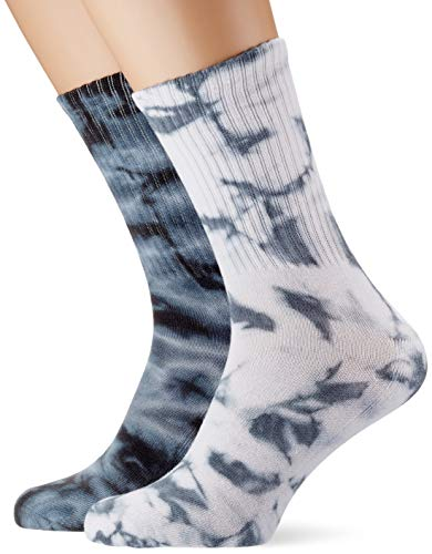 Urban Classics Unisex High Tie Dye 2-Pack Socken, Black/Grey, 39-42