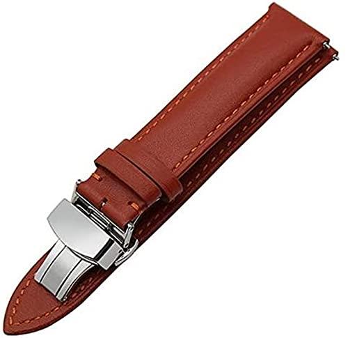 chenghuax Correa de reloj de piel auténtica de 18 mm, 20 mm, 22 mm, correa de liberación rápida, universal, hebilla de mariposa, correa de reloj (color: 20 mm, tamaño: marrón claro)
