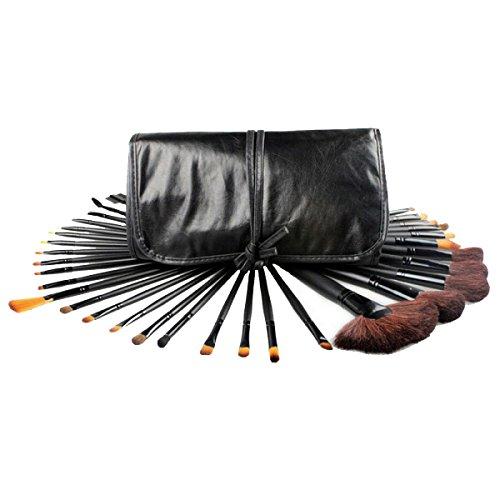 MERRYHE Maquillage Blushes Set 12/32 Pcs Visage Blush Fard à Paupières Professionnel Brosse Ensembles Outil Cosmétique avec Pochette De Voyage,Black/32pcs
