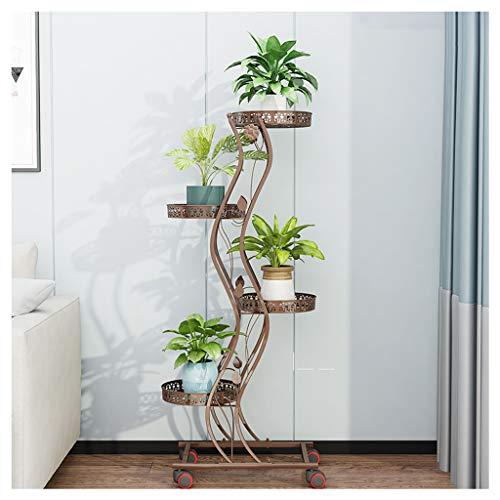 Yillanjun Plantenhouder van metaal, meerlagige bloempot met wieltjes, buiten en binnen, bloemenstandaard, wit, zwart, bronskleurig