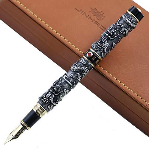 Jinhao Dragon rilievo 18KGP penna stilografica Business ufficio penne con inchiostro originale confezione regalo di lusso set F