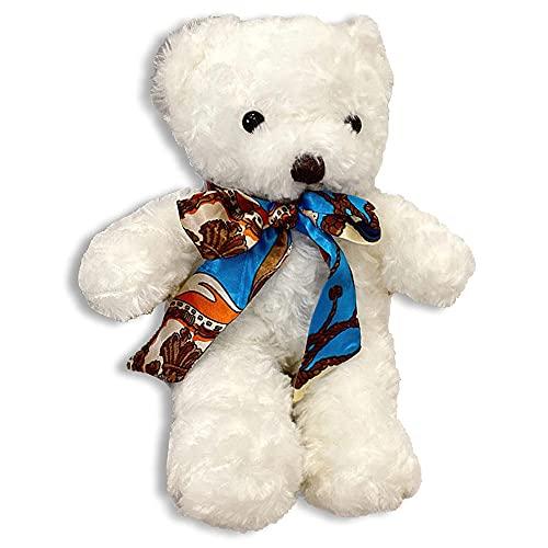 Kawaii - Bolso de peluche con bufanda de seda, diseño de oso Lolita JK, White, Talla única