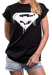 MAKAYA Oversize Top Superheroes Manga Corta Talla Grande - Frikis Super Bat - Camiseta Gym Deporte para Mujer
