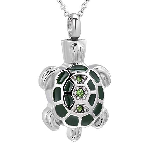 necklace Ladies fashion Cute little turtle stainless steel crystal pendant to commemorate the cremation urns to hold the funeral souvenir jewelry Hoisting
