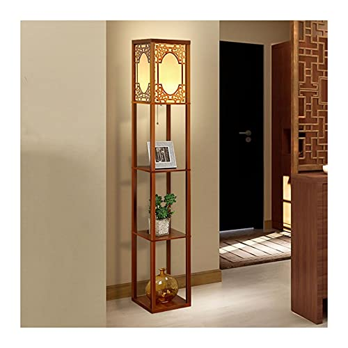 Indoor Vloerlamp met planken – hoekopslag staande lamp – woonkamer slaapkamer studie kantoor houten licht met 3 lagen…