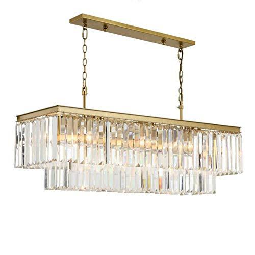 QINGJIA Lámparas de cristal cuadrada de oro American Crystal arañas de comedor del restaurante estudio dormitorio sala de estar LED Bombillas (Emitting Color : Warm White)