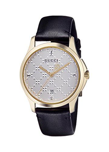 Gucci Unisex Erwachsene Datum klassisch Quarz Uhr mit Leder Armband YA1264027