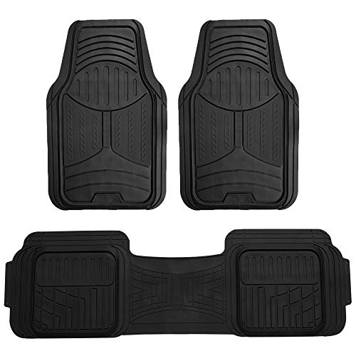 FH Group F11513 Trimmable Heavy Duty Rubber Floor Mats (Black) Full Set - Universal Fit for Cars Trucks and SUVs (Solid Black)