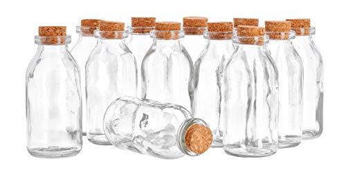 VBS Großhandelspackung 12er-Pack Glasflaschen mit Korken 130ml Flaschenpost