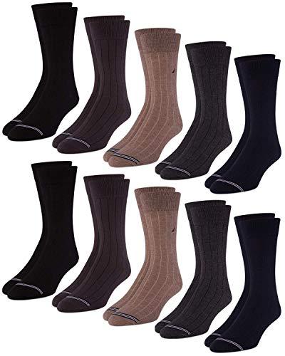 Nautica Mens 10 Pack Moisture Control Solid Dress Socks, Assorted, Size Shoe Size: 6-12.6