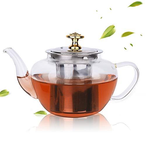 BESTOO Teekanne-Glas 400ml Teebereiter Teapot mit Abnehmbare Edelstahlsieb Glaskanne Königlicher Stil Perfekt für 2-3 PersonTee und Kaffee (400ml)