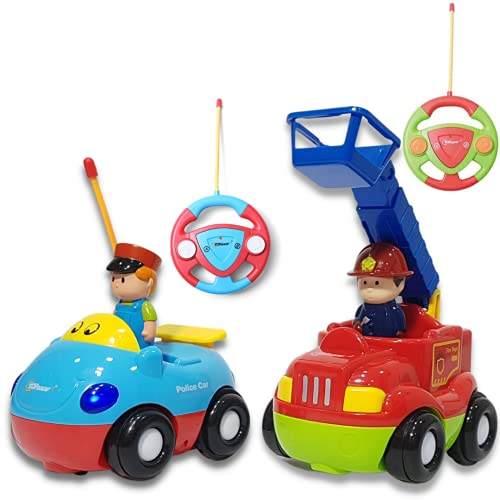 Top Race TR-02 RC Cartoon, First Remote Control Set of 2 Fire Engine & Police Car Toys, Musical Song & Light with 2 Transmitters Different Frequencies-Play Them Together, Children Age 2+