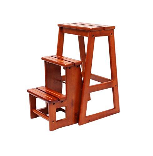 Aishang Escalera de madera maciza con escalones plegables con 3 escalones multifuncionales, taburete para el hogar, sillas plegables, capacidad de carga: 150 kg.