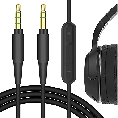 Geekria QuickFit Audio Cable with Mic Compatible with Skullcandy Hesh 3, Hesh 2, Crusher, Grind, Venue Headphones, 3.5mm Replacement Stereo Cord with Microphone and Volume Control (Black 5.6FT)