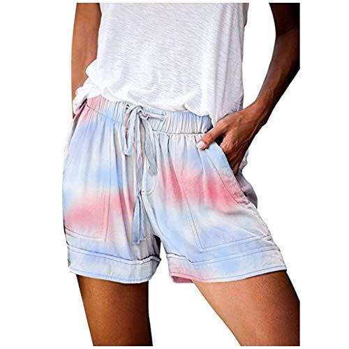 Shorts Running Freizeit Damen Sommer Kurze Hose Gummizug Stretch Shorts Sommerhose Hot Pants High Waist Sport Leggings Sporthosen Kurze Shorts Hotpants Schlafhose Strandshorts (Multicolor, M)