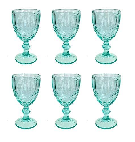 Vintage 6 Teile Set Schleife Weinglas Glas Gläser Weingläser Eisbecher Wasserglas Longdrinkglas Wasserkrug