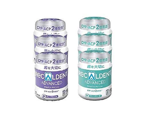 歯科医院専用 リカルデント 粒ガム ボトルタイプ 140g 6本セット(グリーンミント味3本 グレープミント味3本)