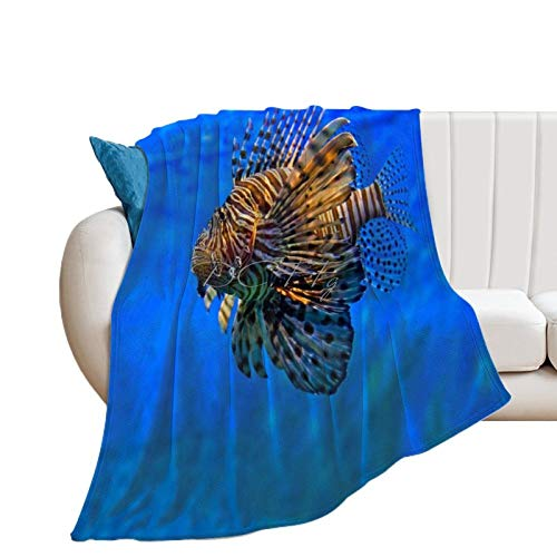 Throw Blanket for Couch Flannel Blankets Awesome Lion Fish Ocean Sea Marine Diver Lightweight Ultra Soft for All Season Farmhouse Decorative Blanket for Bed Sofa Travel Birthday Gift 30x40 Inch