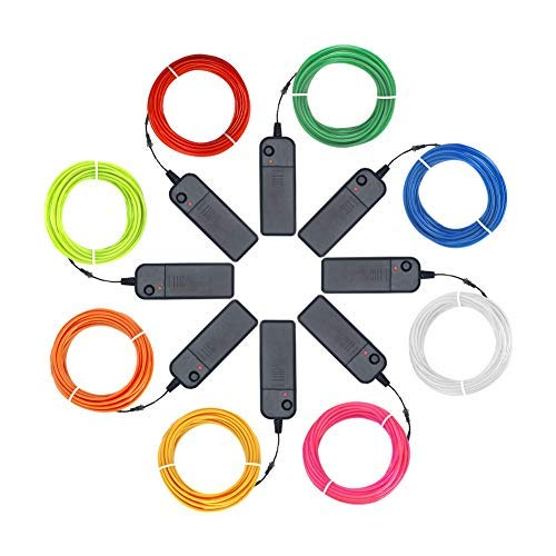 Zitrades EL Wire Kit 9ft, Portable Neon Lights for Parties, Halloween, Blacklight Run, DIY Decoration (8 Pack, Each of 9ft, Red, Green, Pink, Lemon Green, Blue, White, YEL