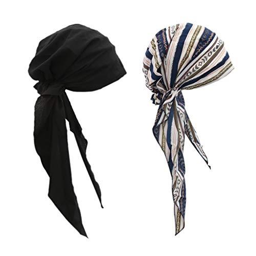 SM SunniMix 2 Pièces/Ensemble Femmes Cancer Chimio Chapeau Turban Casquette Tête Wrap Dames Couverture Foulard