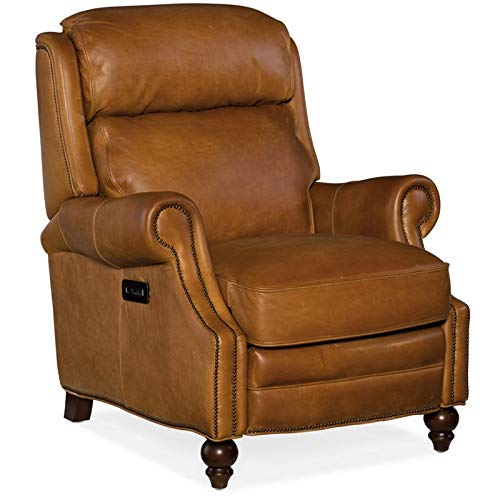 Hooker Furniture Fifer Leather Power Recliner in Saddlebag Coin