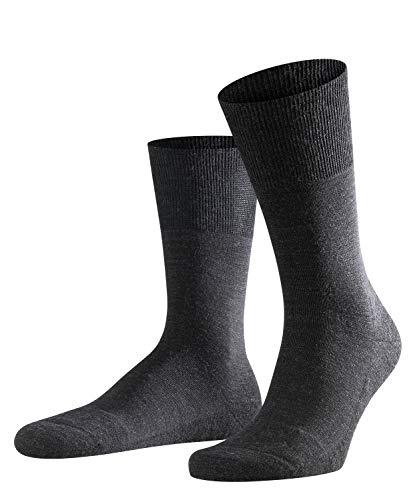 FALKE Herren Socken Airport Plus - Merinowoll-/Baumwollmischung, 1 Paar, Grau (Anthracite Melange 3080), Größe: 43-44