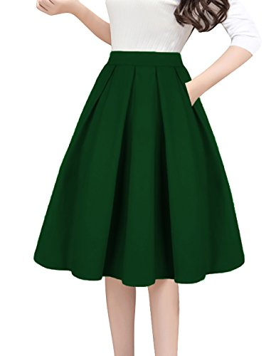 Tandisk A-Line Pleated Vintage Skirts with Pockets for Women Green M