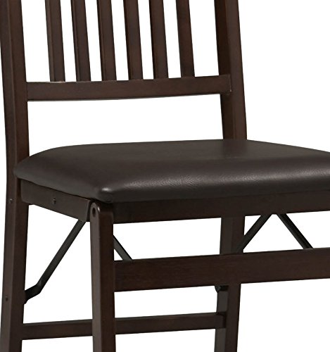 Linon Triena Mission Back Set of 2 Folding Chair, 17' w x 20' d x 36' h, Brown