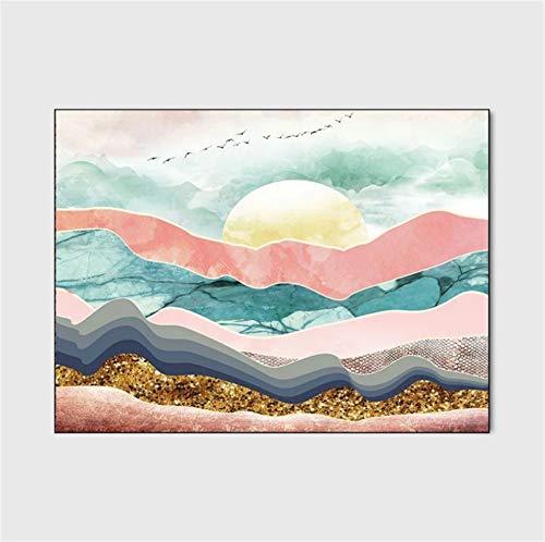 artkingdom Alfombras para Sala de Estar Alfombras de Dormitorio Alfombra Piso Abstracto Amanecer Tamaño 80 * 120 cm