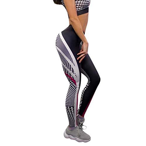 WOZOW Damen Leggings Gamaschen Solid Patchwork Streifen Gestreift Stripe Geometrisch Pattern Print Druck Dünn Skinny Stretch High Waist Slim Lang Long Sport Hose Yoga Stoffhose (S,Schwarz)