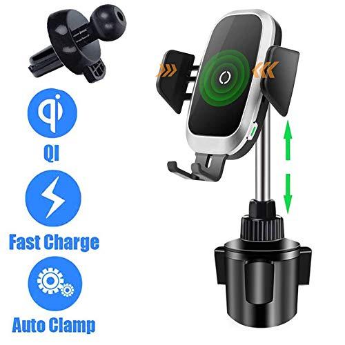 QI Kabelloses Auto Ladegerät Handyhalter Auto Clamping,Universal Schnellladung Getränkehalter Aufladen Auto Montieren Automatische Sensor Einstellbare Kompatibel mit iPhone 8 X XR XS Samsung S9 Note 8