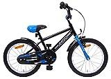 Amigo BMX Fun - Kinderfahrrad für Jungen - 18 Zoll - mit Handbremse, Rücktritt, Lenkerpolster und fahrradständer - ab 5-8 Jahre - Schwarz/Blau