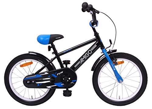 Amigo BMX Fun - Bicicletta per bambini 18 pollici - Per Bambino di 5-8 Anni - Freno a mano, Freno a contropedale, Campanello per Bicicletta e Cavalletti per bicicletta - Nero/Blu