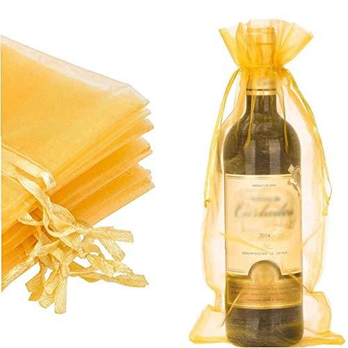 tJexePYK Botella de Vino 20pcs Wrap Bolsa de Organza Envoltura de Regalo Bolsas de Dulces Bolsas de Color Oro