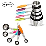 Fanshiontide - Juego de 10 tazas y cucharas medidoras para hornear, tazas y cucharas, acero inoxidable, herramientas de medición para ingredientes secos y líquidos 10 Pcs