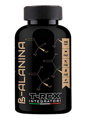 T-Rex Integratori, Beta Alanine 1000mg. 100 Tablets of 1500 mg with Vitamins B1-B6-E.