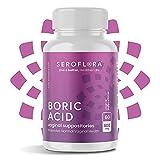 Seroflora Boric Acid Vaginal Suppositories 600 mg 60 Pack - Boric Acid Pills for Women - Feminine Health and Wellness Essentials - Vaginal Health pH Balance for Women - Feminine Balance Complex