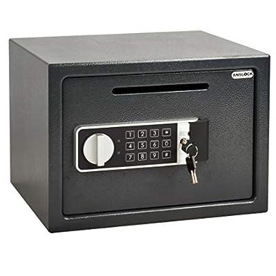 ANSLOCK Drop Slot Safes Depository Safe, Security Keypad Cabinet Safes,0.58 Cubic Ft Home Hotel security Safe Box with a Front Drop Slot for Cash, Bank Slips, Bills