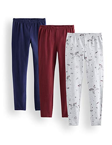 Marque Amazon - RED WAGON Legging Fille, Lot de 3, Multicolore (Grey, Burgundy And Navy), 104, Label:4 Years