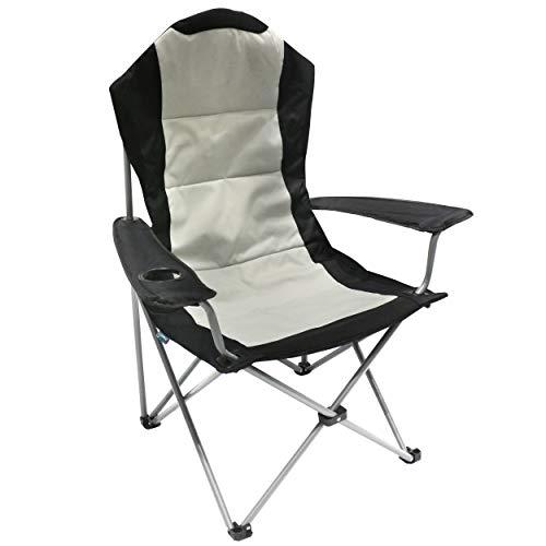 Homecall - Silla de camping plegable con portavasos en el reposabrazos (negro/crema)