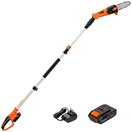Goplus 8-inch Cordless Pole Saw, 20V 2Amp Battery Powered Chainsaw w/ 9ft Telescoping Pole, Trimming & Pruning Tool Kit