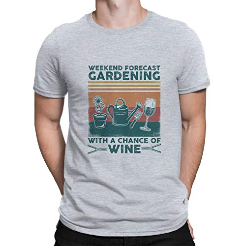 ALPHADAS Vintage Camisetas - Previsión de fin de semana Jardinería con una oportunidad de vino Divertida camisa de jardinero - Cuello redondo manga corta regalos