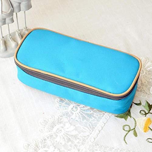 Multifunctionele school-potlood-doos & zakken grote capaciteit zeildoek veer gordijn box voor jongens-meisjes-kind-geschenk brievenpapier-verzorgingsmaterialen, blauw